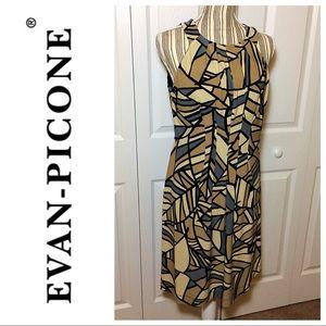 Evan Picone tan geometric print sleeveless dress